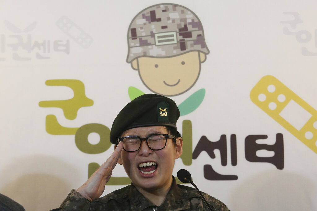 South Korean army Sergeant Byun Hui-su salutes during a press conference at the Center for Military Human Rights Korea in Seoul, South Korea, on January 22, 2020.
