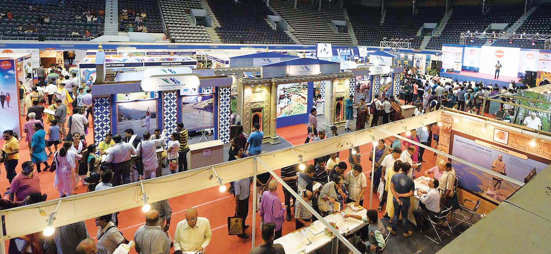 Visitors at Tourist Spot at Netaji Indoor Stadium on Sunday.
