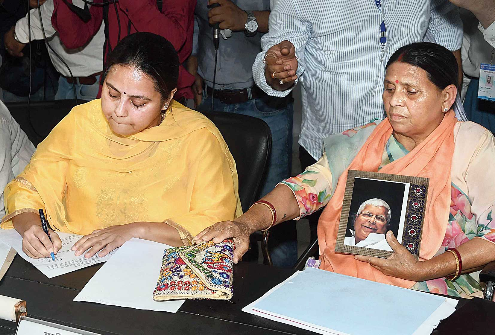 RJD candidate from Patliputra constituency Misa Bharti files her nomination  in Patna on Thursday in the presence of her mother and senior party leader Rabri Devi.