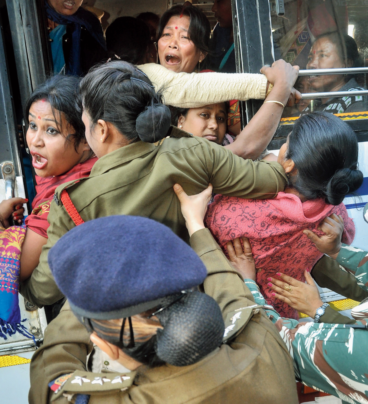 Women protesters storm Assam's BJP office