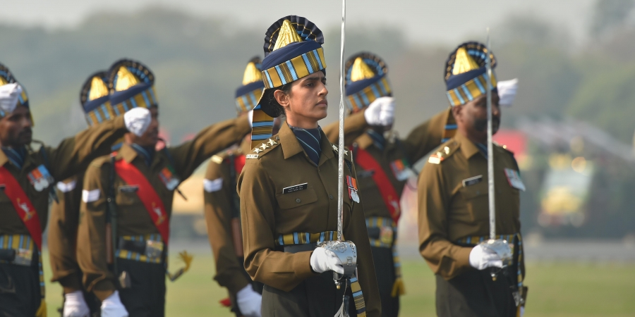 India Army Captain Tania Shergill, the first woman Parade Adjutant leads all-men contingents during Army Day at the Cariappa Parade Ground in New Delhi Wednesday Jan. 15 2020.