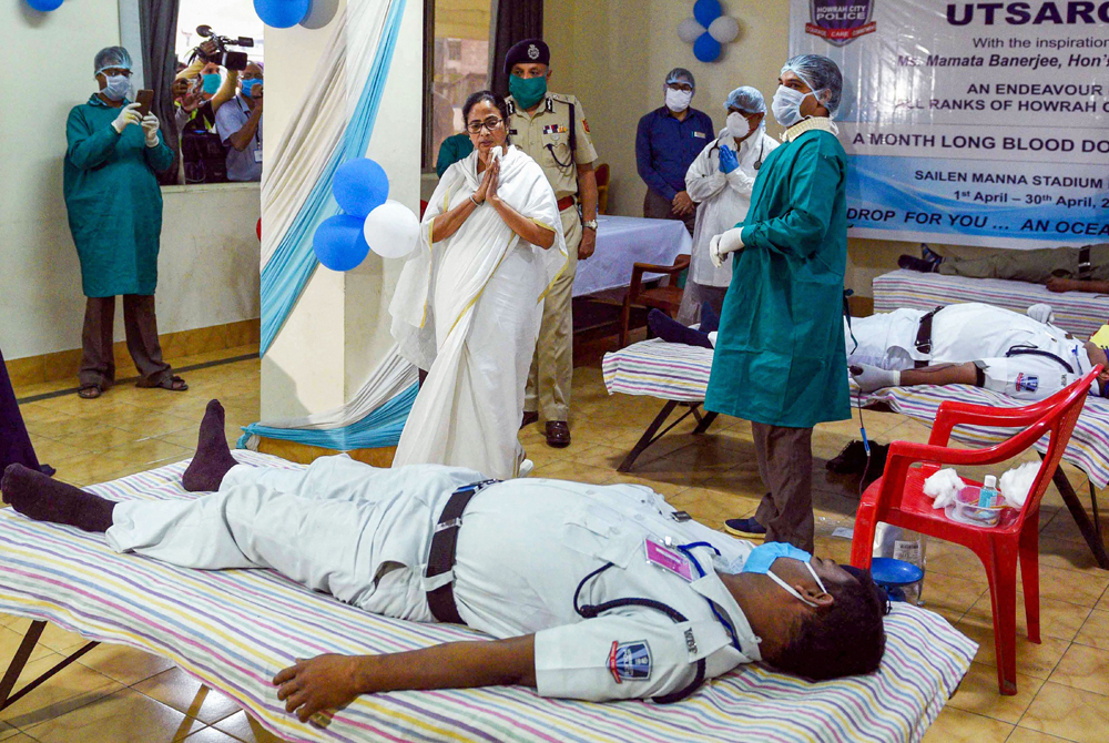 West Bengal Chief Minister Mamata Banerjee visits the Howrah City Police blood donation camp organized in wake of the coronavirus pandemic, in Howrah, Monday, April 6, 2020.