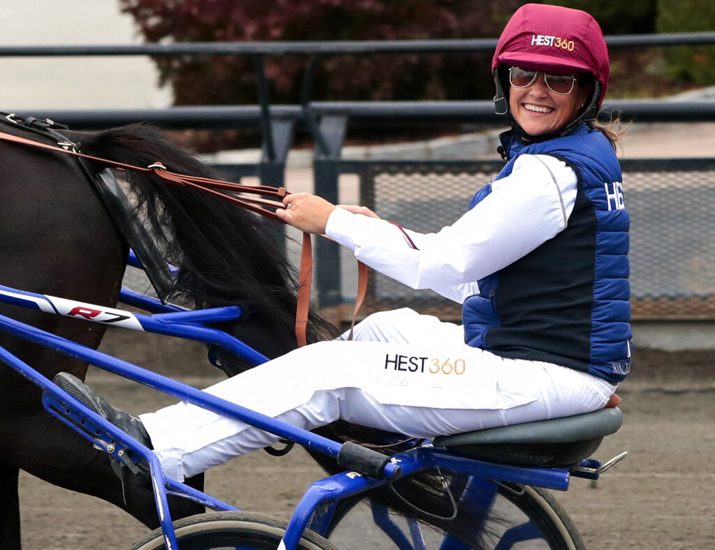 File photo of Norway's Princess Martha Louise during her exam race to become a licensed trotting driver, in Oslo