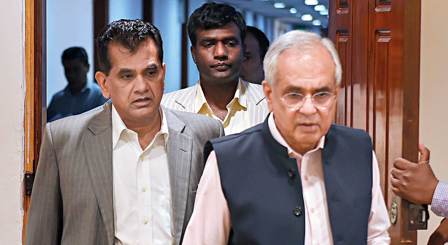 Amitabh Kant (left) and Rajiv Kumar at the launch of School Education Quality Index in New Delhi on Monday.