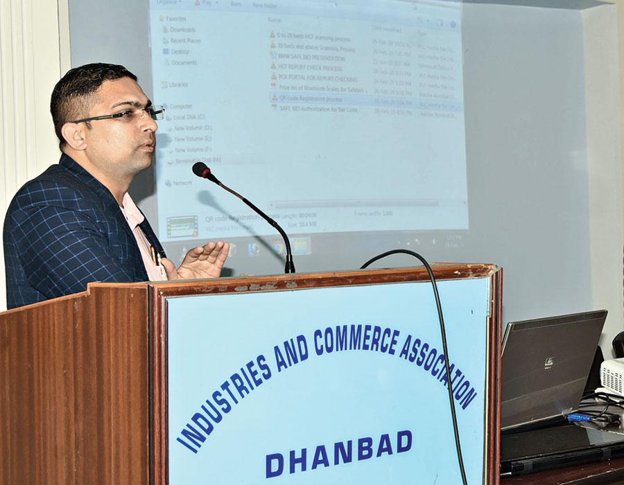 Ashok Kumar at the meeting at ICA meeting hall in Dhanbad on Friday.