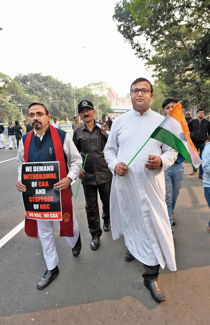 """Father Rodney Borneo, the principal of Loyola High School, walked with the Tricolour because the need of the hour is to protest. """"We are here to protect the values enshrined in the Constitution. We feel that there is a real threat to the values upheld in the Constitution and we have to fight to protect it."""""""