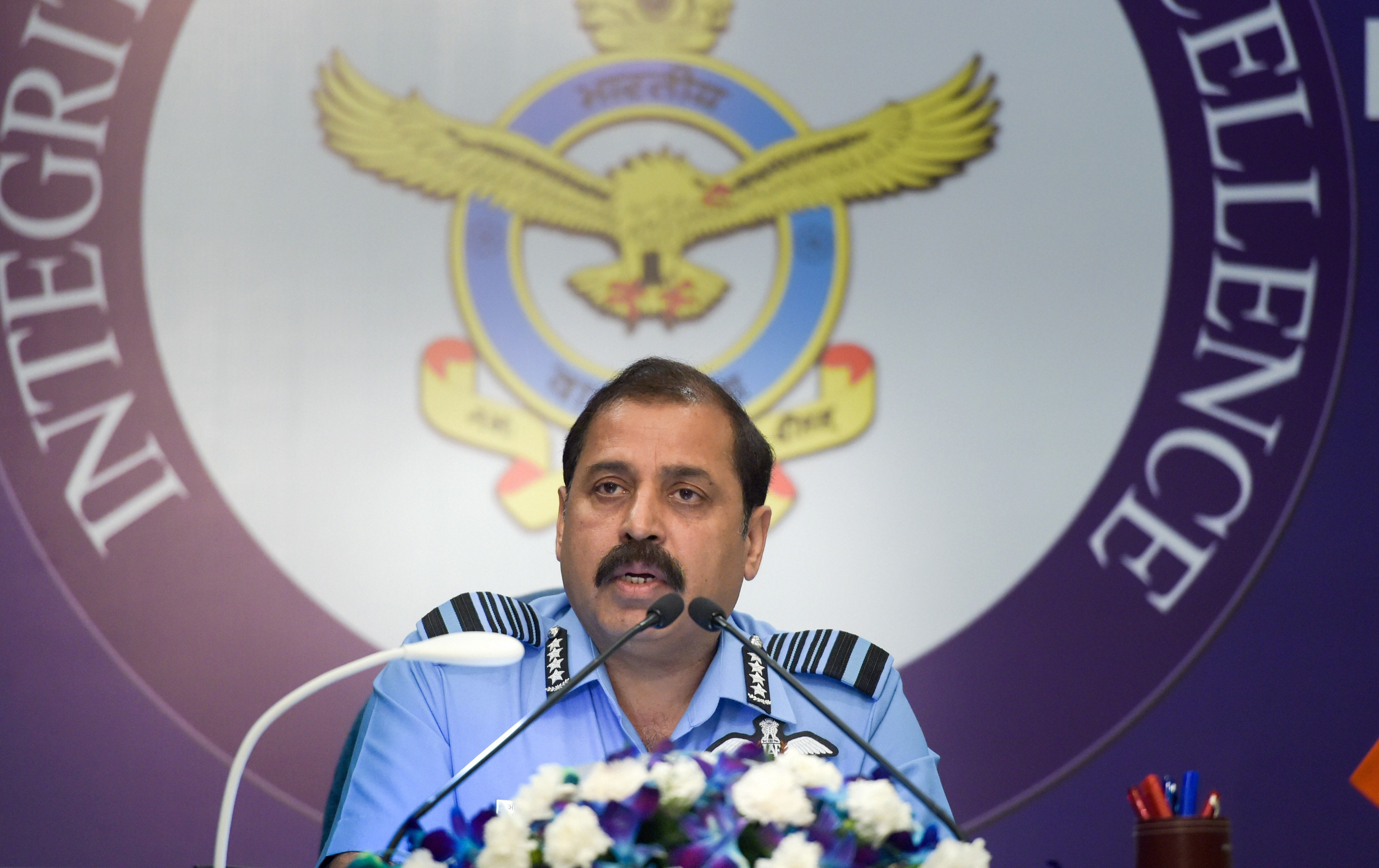 Air Chief Marshal Rakesh Kumar Singh Bhadauria addresses his first news conference as the new IAF chief at Akash Air Force Officers' Mess in New Delhi on October 4.