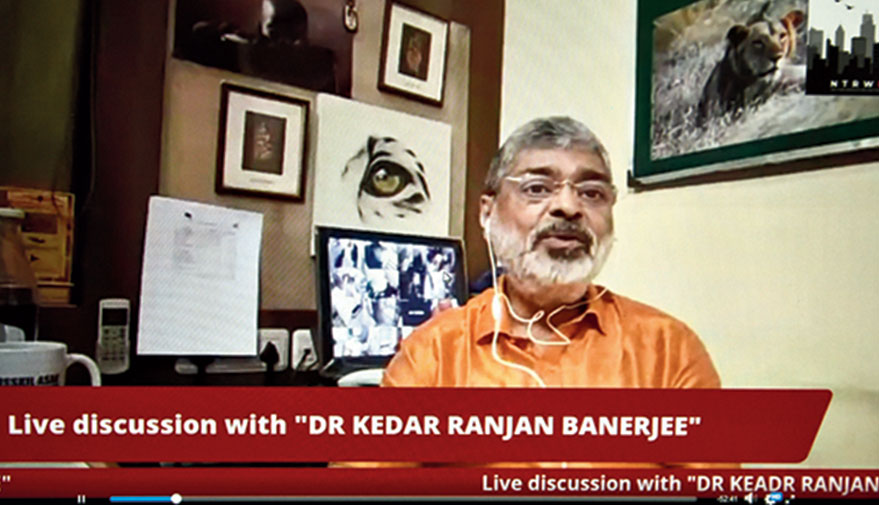 Psychiatrist Kedar Ranjan Banerjee during the online session