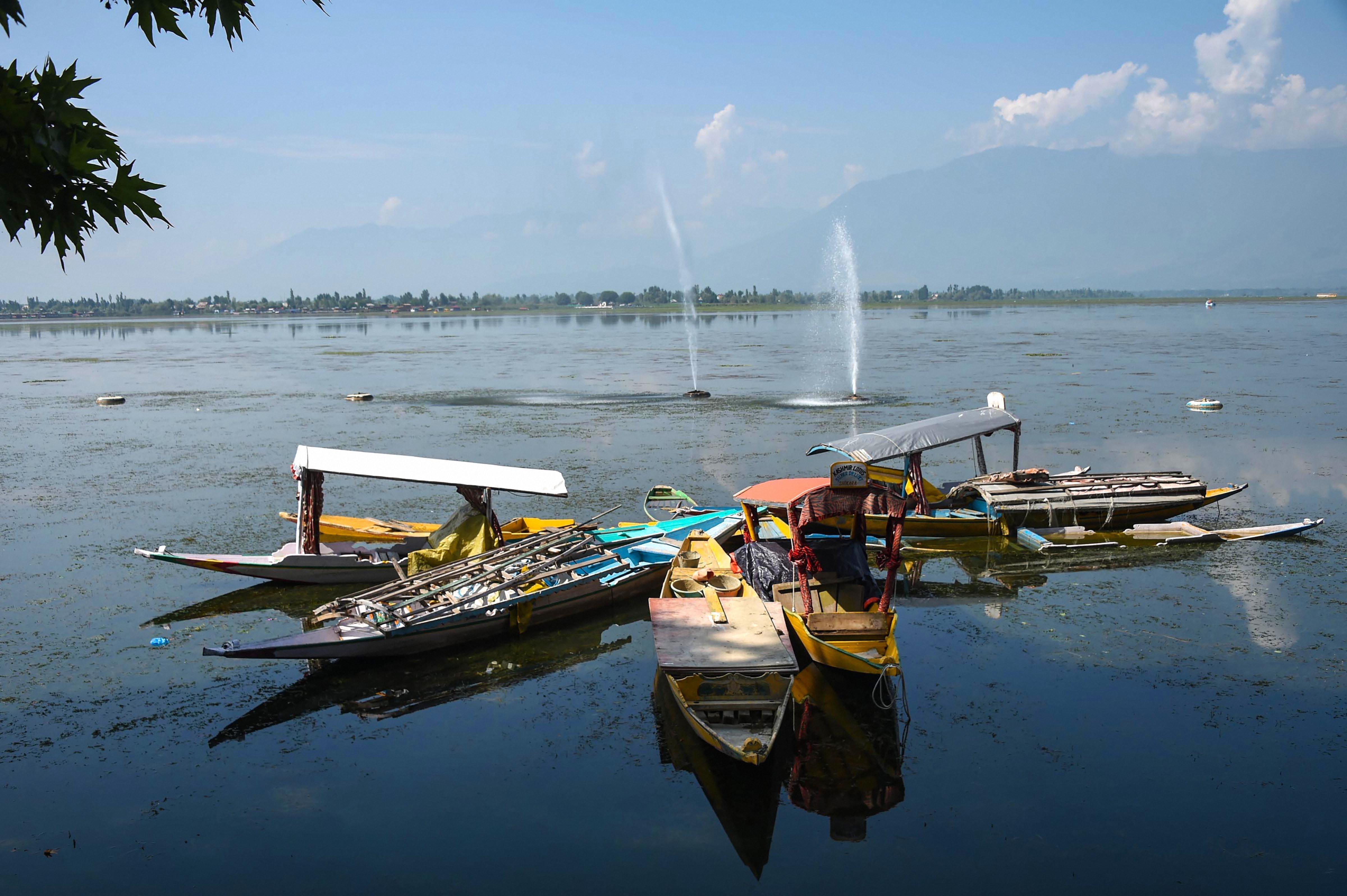 Abandoned shikaras along the banks of the Dal Lake in Srinagar on September 1.