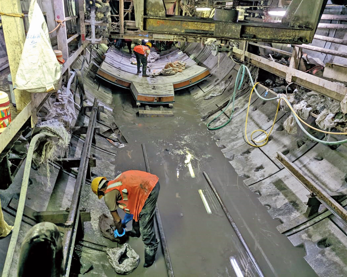 The tunnel-boring machine of East-West Metro at work