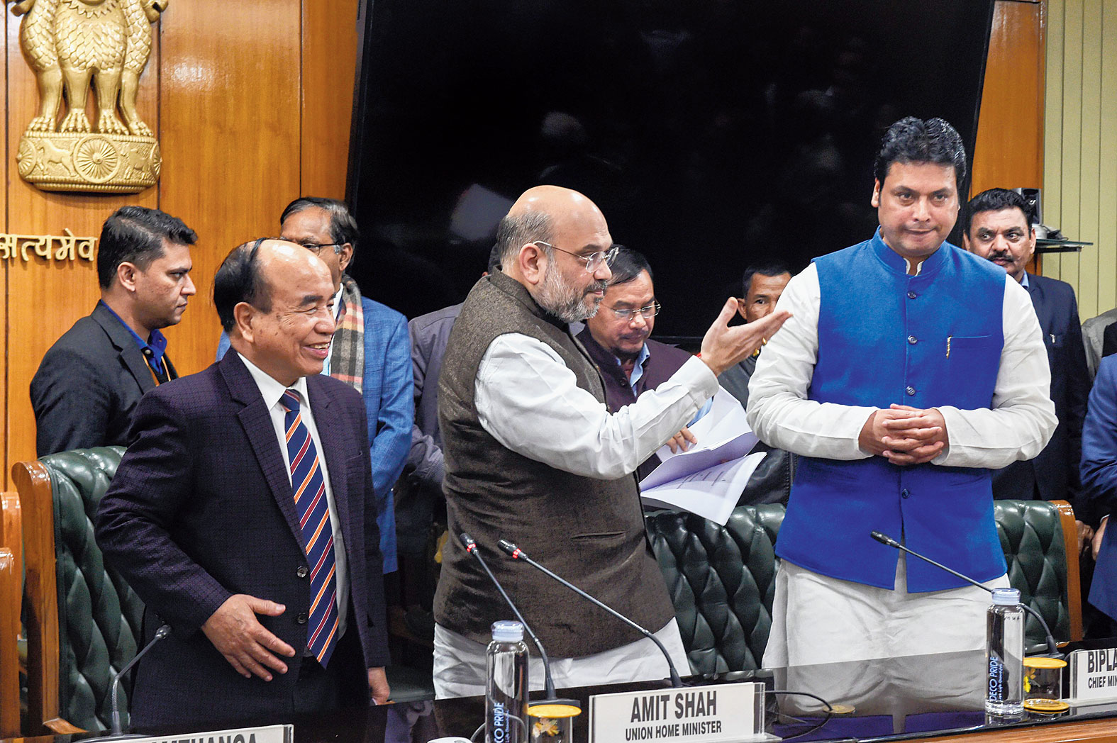 Mizoram chief minister Zoramthanga, Union home minister Amit Shah and Tripura chief minister Biplab Kumar Deb after signing of the agreement