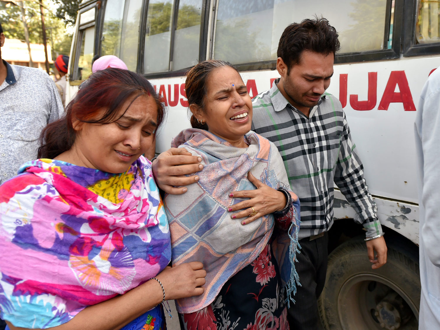 Relatives of victims of the Amritsar train accident at Civil Hospital on Saturday