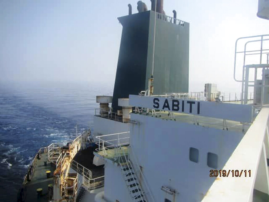 This photo released by the official news agency of the Iranian Oil Ministry, SHANA, shows Iranian oil tanker Sabiti traveling through the Red Sea on Friday, Oct. 11, 2019.