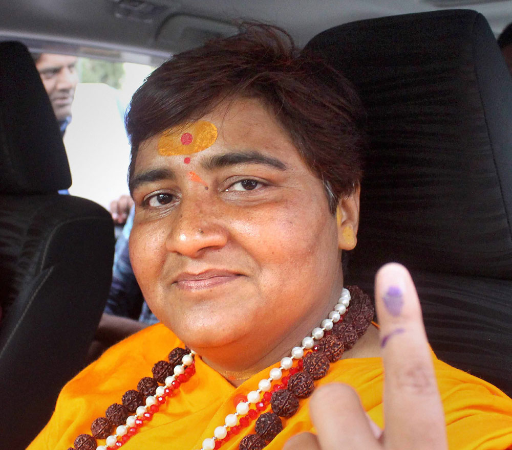 Pragya Singh Thakur after casting her vote in Bhopal on Sunday