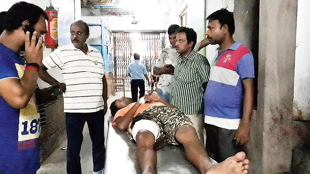 Toton Choudhury, the youth shot at in Malda, at the Malda Medical College and Hospital on Tuesday