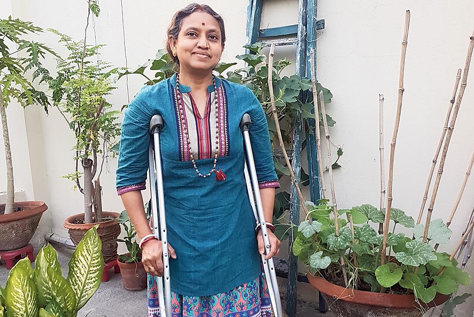 Rita Das ready for chores at home.