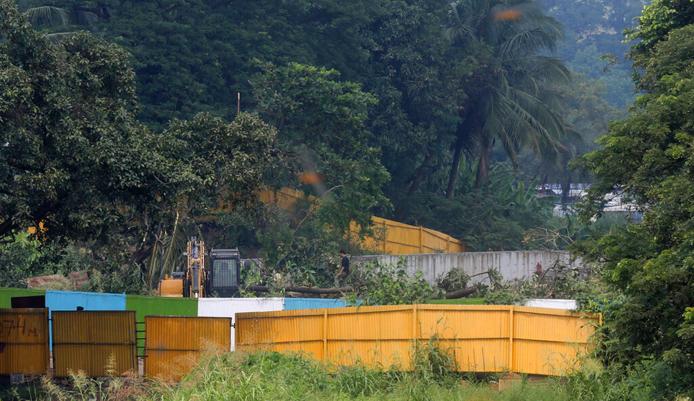 The construction site of a Metro car shed at Aarey Colony in Mumbai on Monday