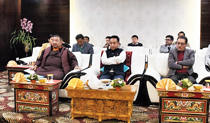 PS Tamang chairs the meeting in Gangtok on Monday