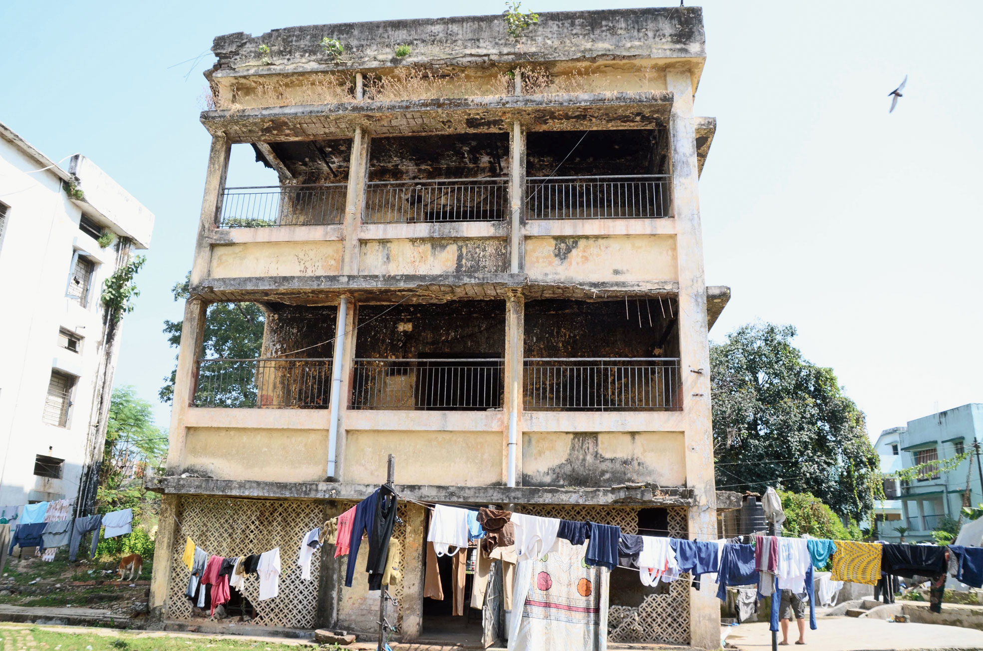 One of the dilapidated buildings at JAP-1 barracks in Doranda, Ranchi, on Sunday.