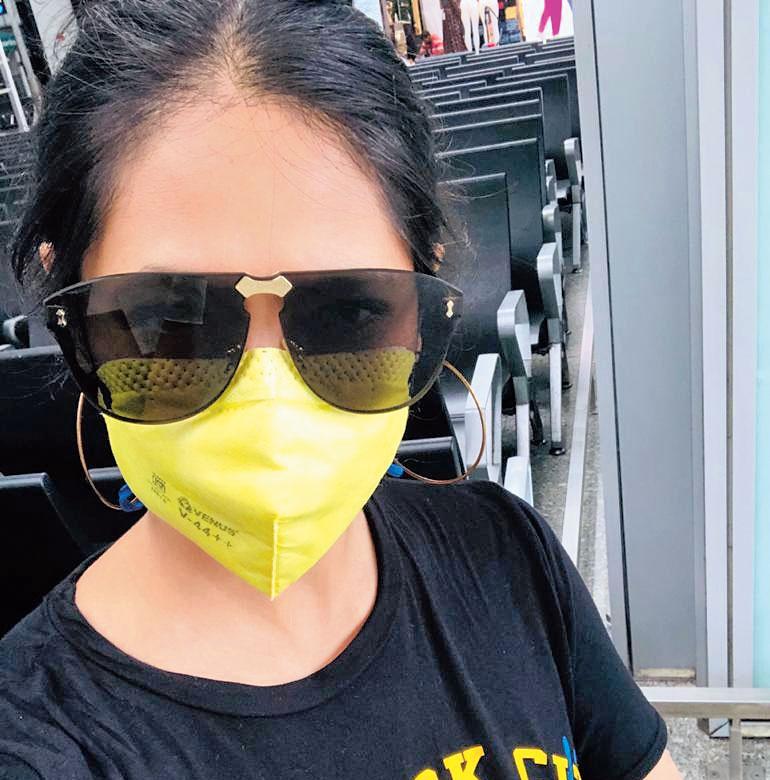 Pina Seth at the airport on Thursday