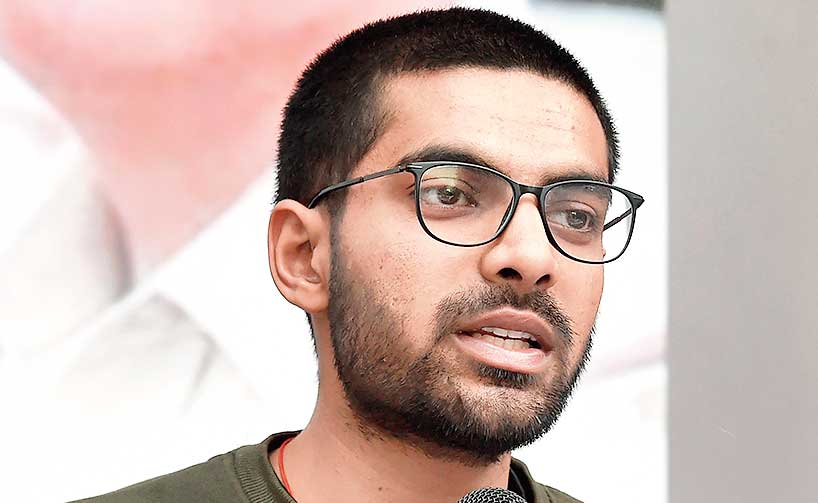 Shreh Pratap Singh at the news conference in New Delhi on Sunday.
