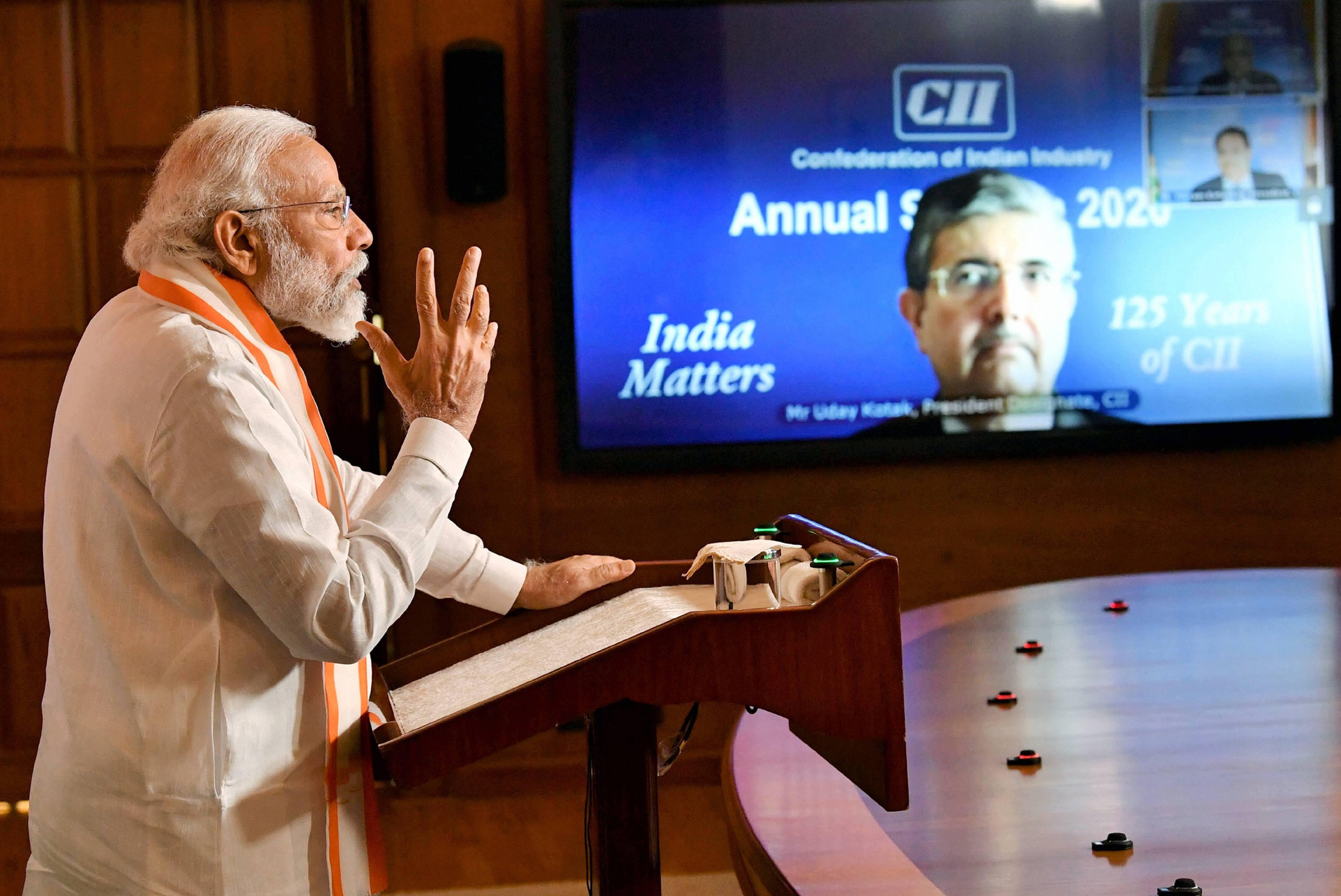 Prime Minister Narendra Modi addresses the CII Annual Session-2020 via video conferencing, in New Delhi, Tuesday, June 2, 2020.