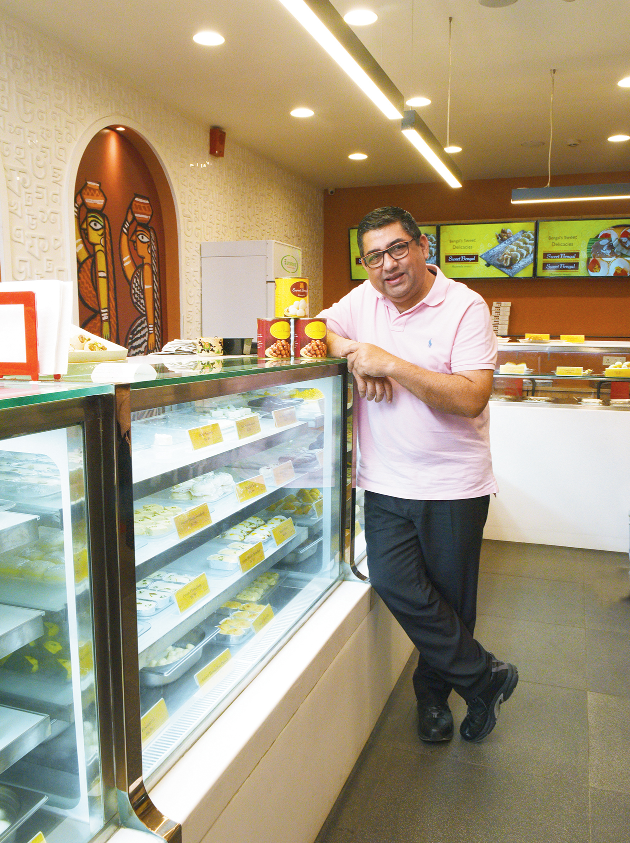 Anjan Chatterjee at the Southern Avenue outlet of Sweet Bengal.