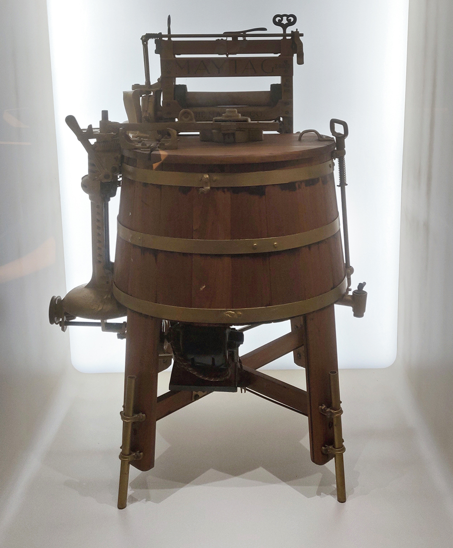 The early manual washing machine: In 1874, William Blackstone of the US designed a hand-driven washing machine as a present for his wife. It was similar to King's washing machine but this was the first one that was specifically for home use