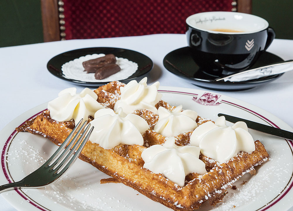 Waffles at Aux Armes de Bruxelles, which was a favourite place of King Leopold III