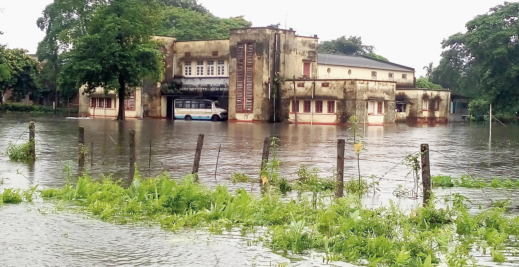 An inundated area in Bongaigaon in Assam on Monday.