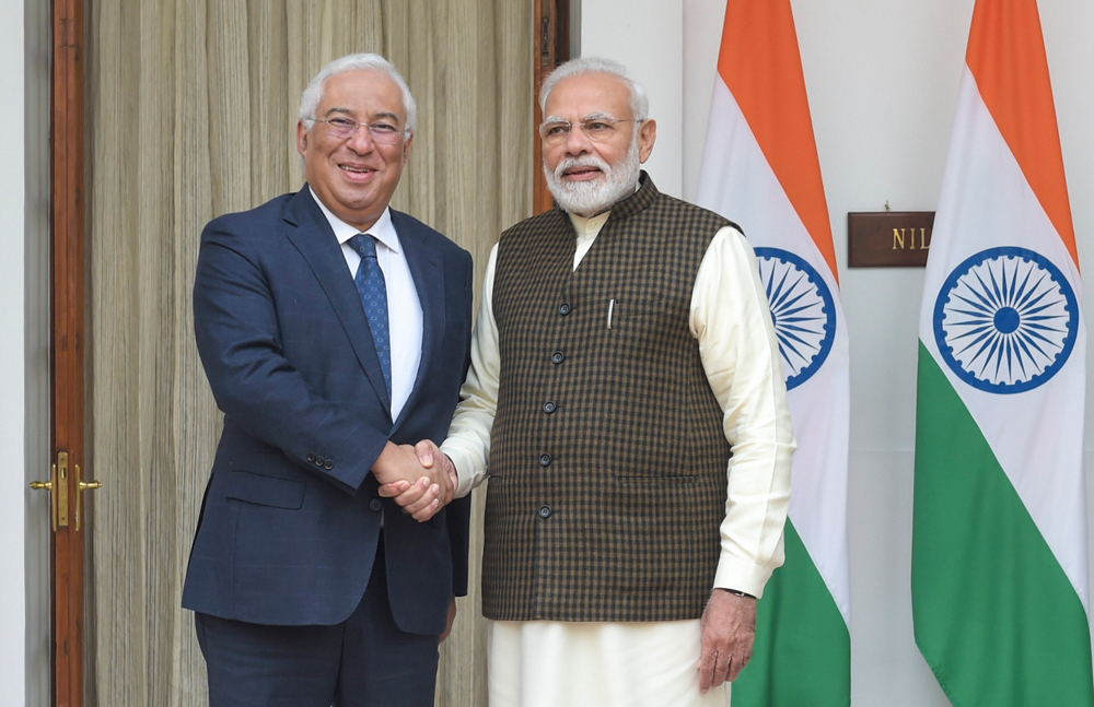 Prime Minister Narendra Modi shakes hands with his Portuguese counterpart, Antonio Costa, before their meeting at Hyderabad House in New Delhi on December 19