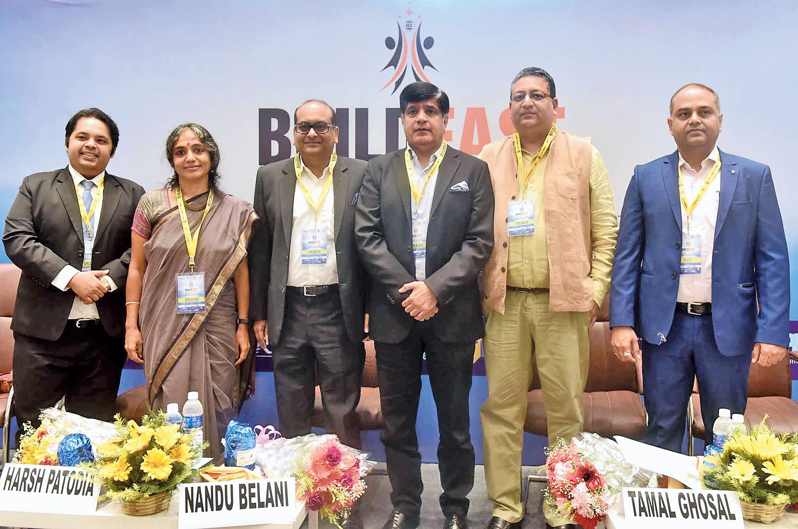 (From left) Rishi Jain of Jain Group; Gita Balakrishnan of the Indian Institute of Architects; Harsh Patodia of Unimark Group; Nandu Belani of Belani Group; Tamal Ghosal of Country Roads Resort and Pramod Ranjan Dwivedi of Ambuja Neotia Group at the meet on Tuesday.