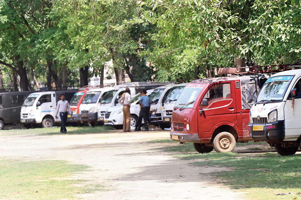 Vehicles meant for poll duty at Jamshedpur Co-operative College grounds in Bistupur on Tuesday.