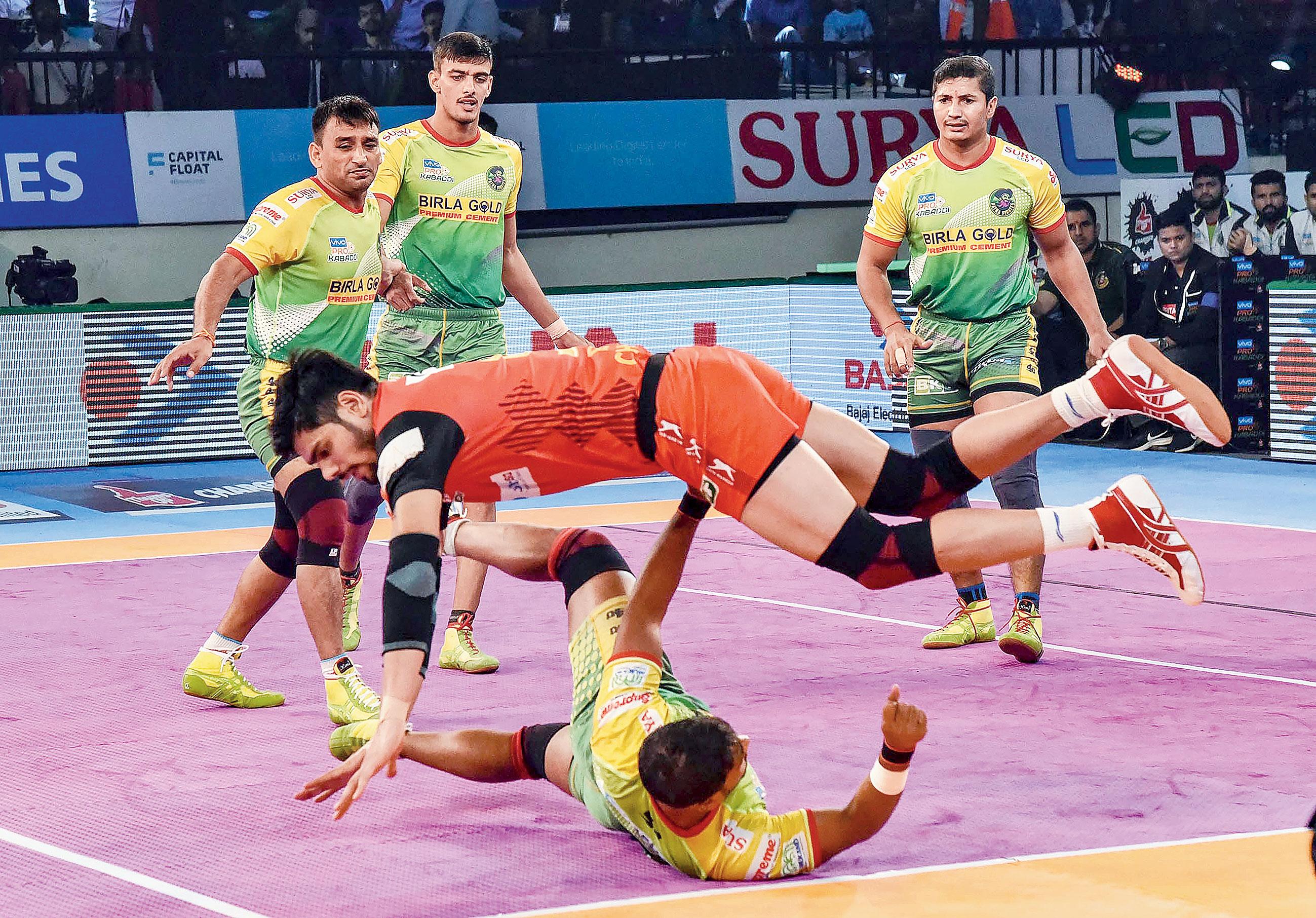 A Pro Kabaddi match between Patna Pirates and Bengaluru Bulls in Patna on Wednesday.