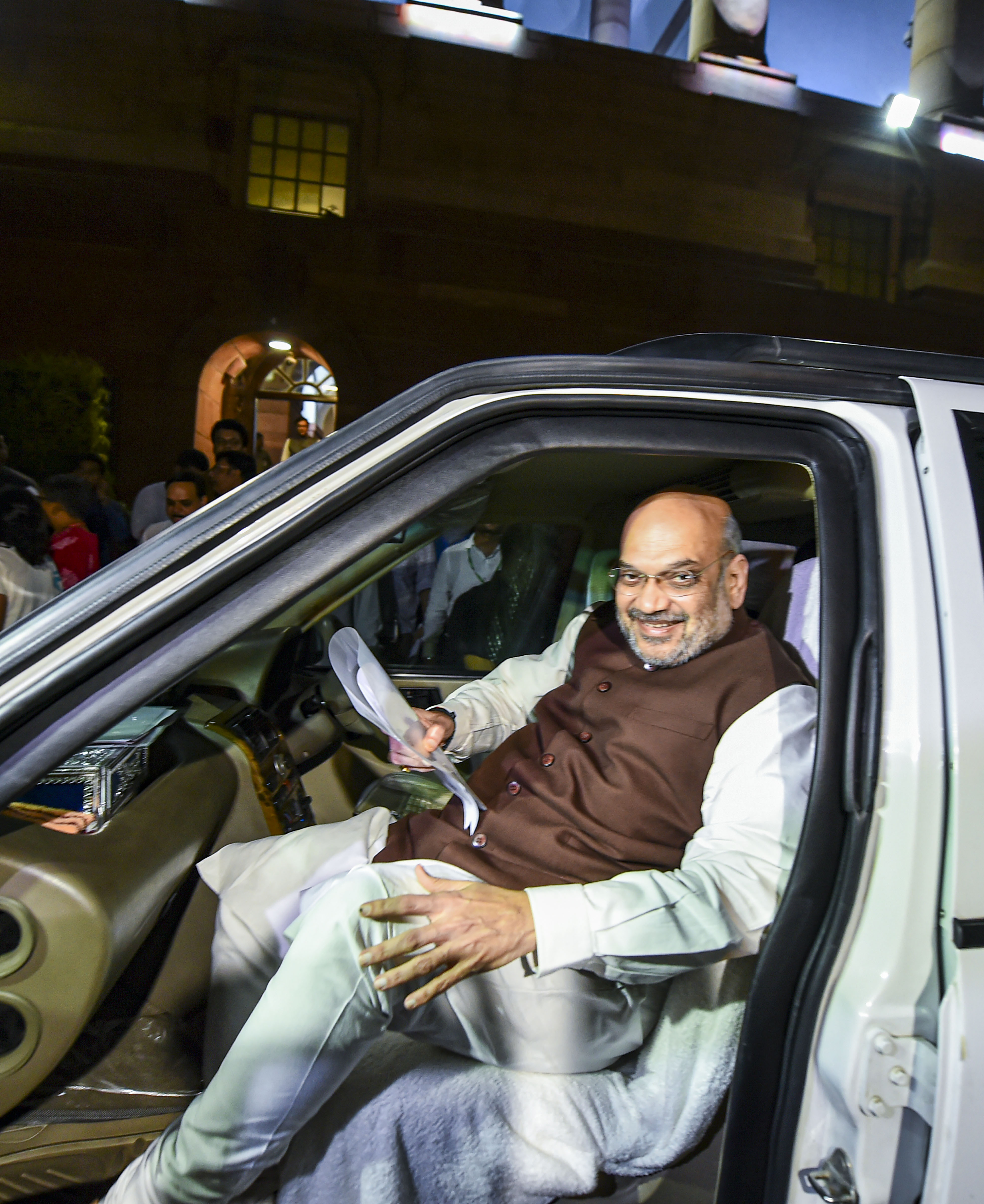 Union home minister Amit Shah leaves after the passage of Jammu and Kashmir Reorganisation Bill by the Rajya Sabha on August 5.