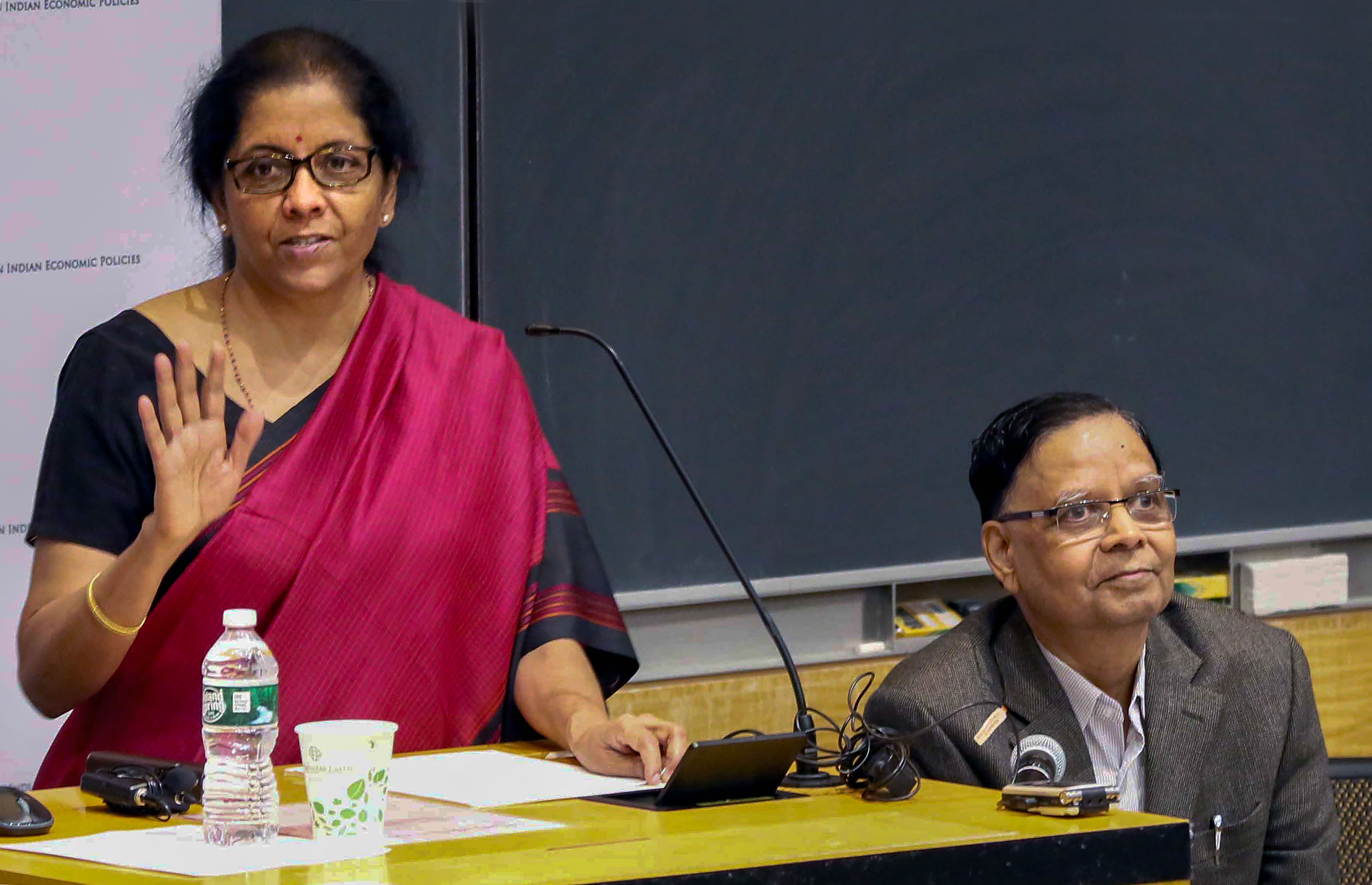 Union minister for finance and corporate affairs Nirmala Sitharaman (left) speaks on Indian Economy: Challenges and Prospects at Columbia University in New York on October 15.