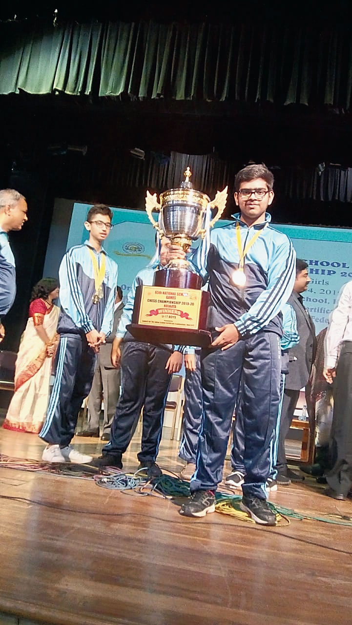 Sanchit Mukherjee with the trophy in Calcutta last year.
