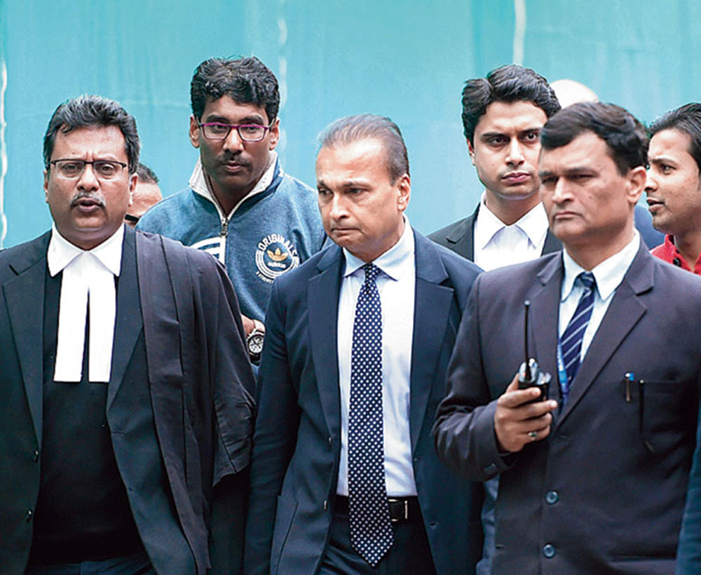 Reliance Communications chairman Anil Ambani at the Supreme Court on Wednesday