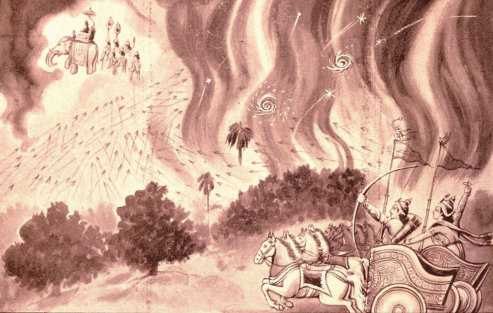 An illustration of the Khandava Forest Fire from the book, Mahabharata', by Ramanarayanadatta Astri, published by Geeta Pres. s