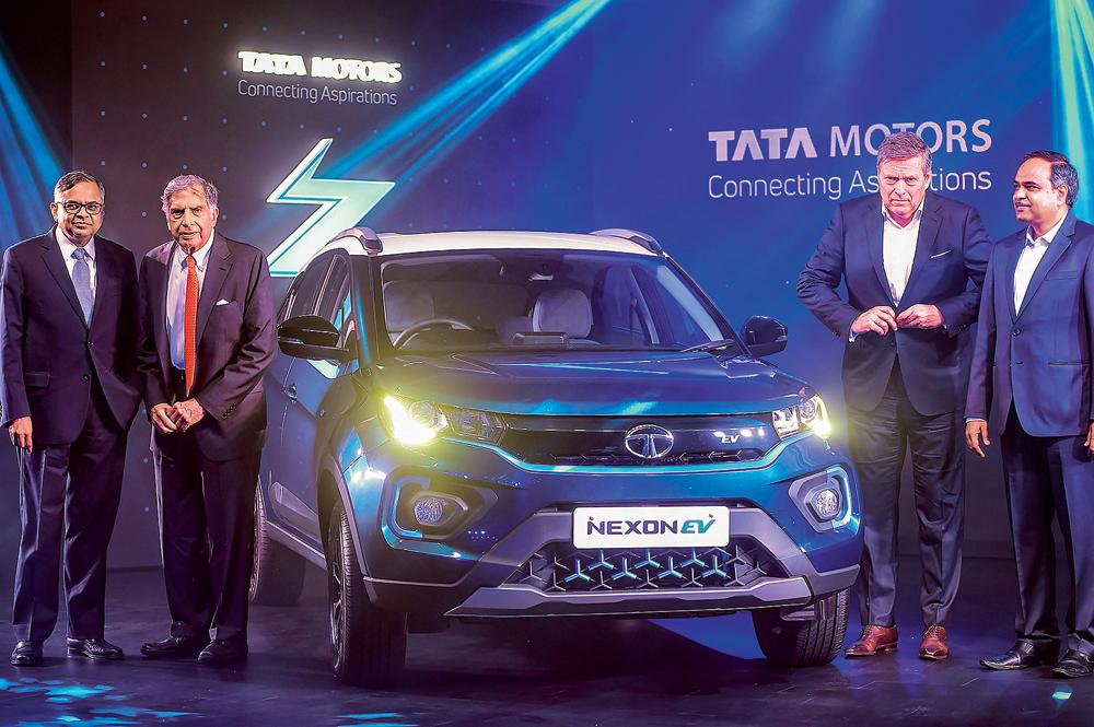N Chandrasekaran, chairman of Tata Group, Ratan Tata, chairman emeritus, and Guenter Butschek, Tata Motors MD and CEO, in Mumbai on Tuesday