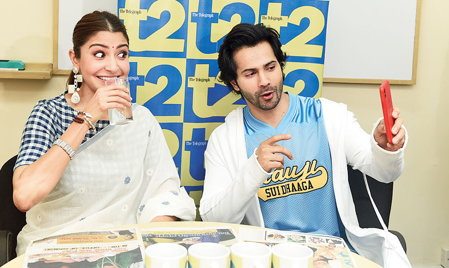 "CLICK-CLICK: From the minute he walked in, Varun fished out his phone and started taking a video of himself and Anushka. ""Oh, I'm a very popular person over here! This is the t2 office, I'm a veteran over here,"" he smiled. ""Every film — whether it's been 'Humpty' (Sharma Ki Dulhania), 'Badri' ('Badrinath Ki Dulhania') or 'Judwaa (2)' — I've come to the t2 office for has been a hit!"" he said."