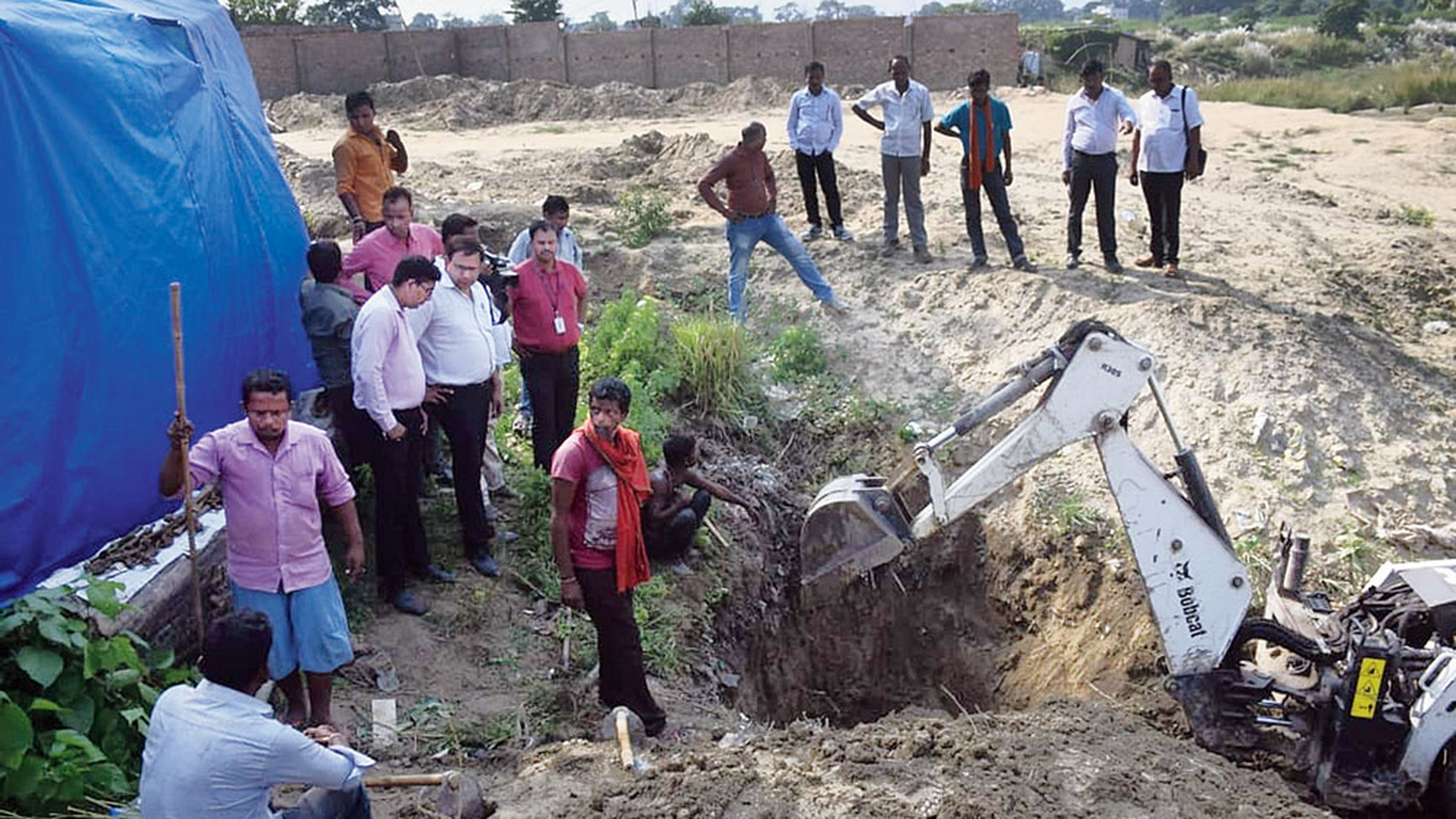The CBI digging up the cremation site close to the Muzaffarpur shelter home on Wednesday