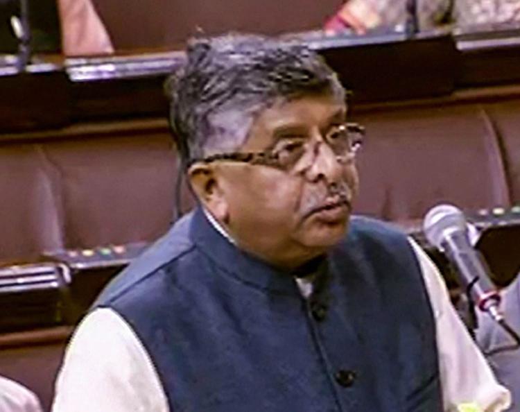 Ravi Shankar Prasad in Rajya Sabha on Thursday