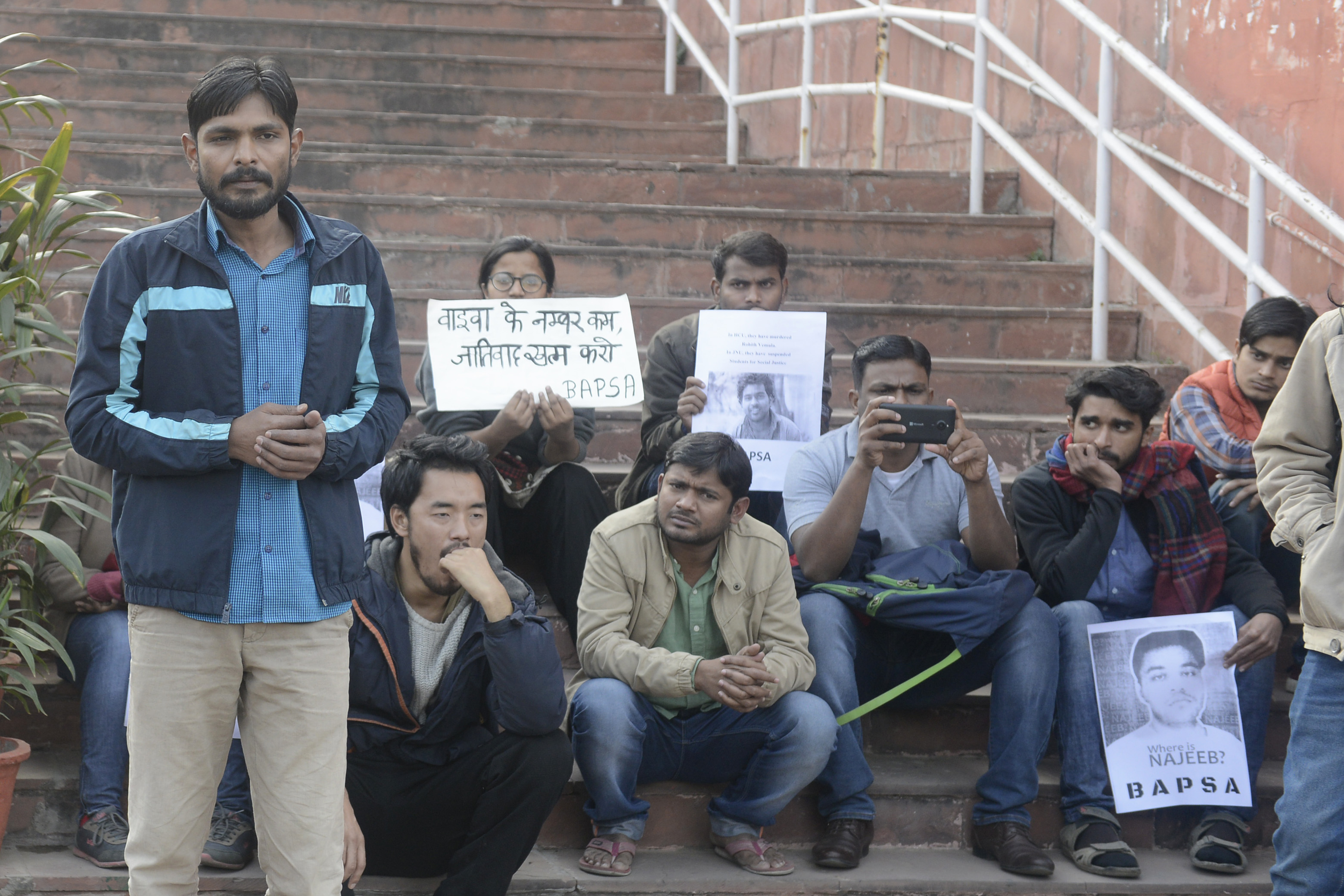 File photo of students at Jawaharlal Nehru University protesting the suspension of eight students in December 2016
