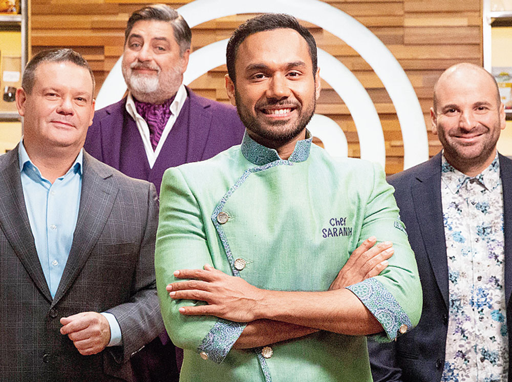 Saransh Goila (centre) with (from left) Gary Mehigan, Matt Preston and George Calombaris on the sets of MasterChef Australia.