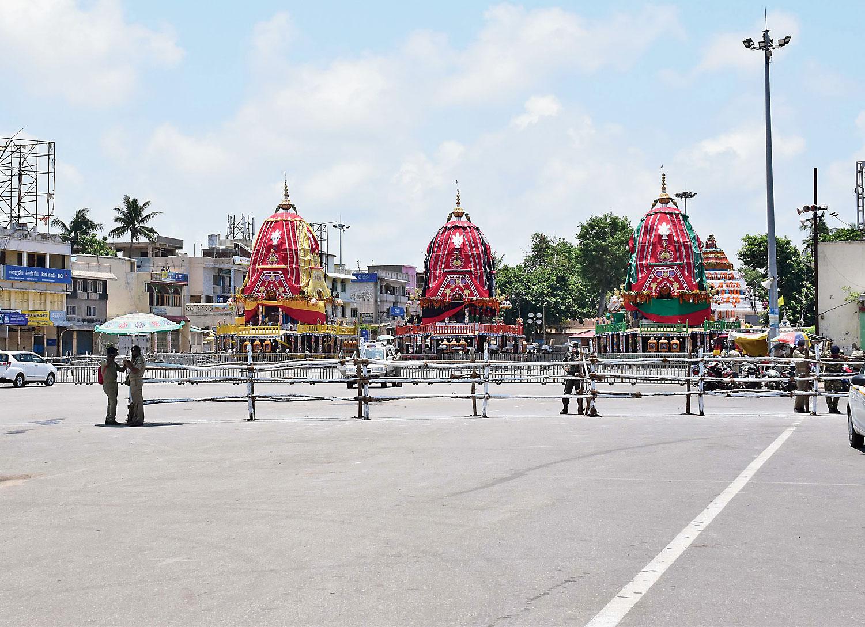 The three chariots at Shree Gundicha temple.