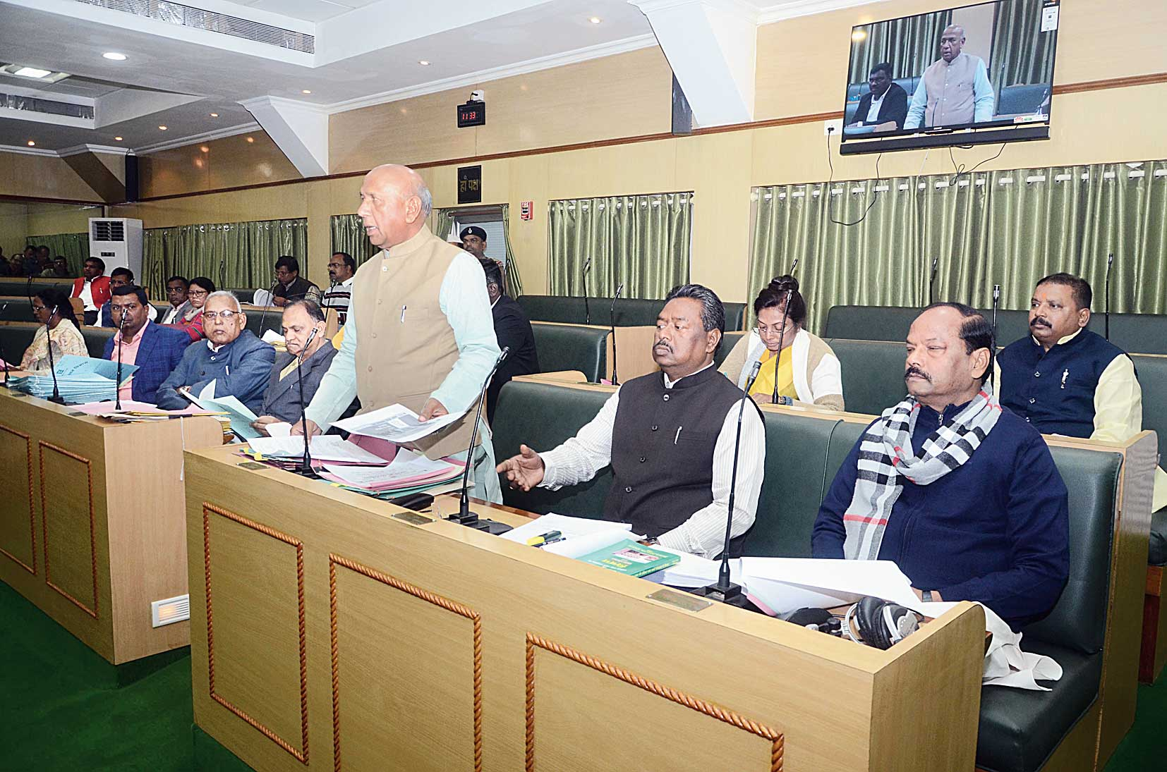 Food and civil supplies minister Saryu Roy takes part in a debate at the Assembly in Ranchi on Thursday.