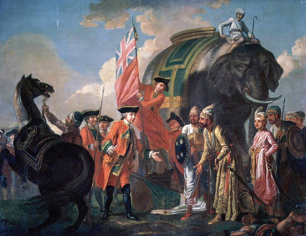 A painting depicting the meeting of Mir Jafar and Robert Clive after the Battle of Plassey