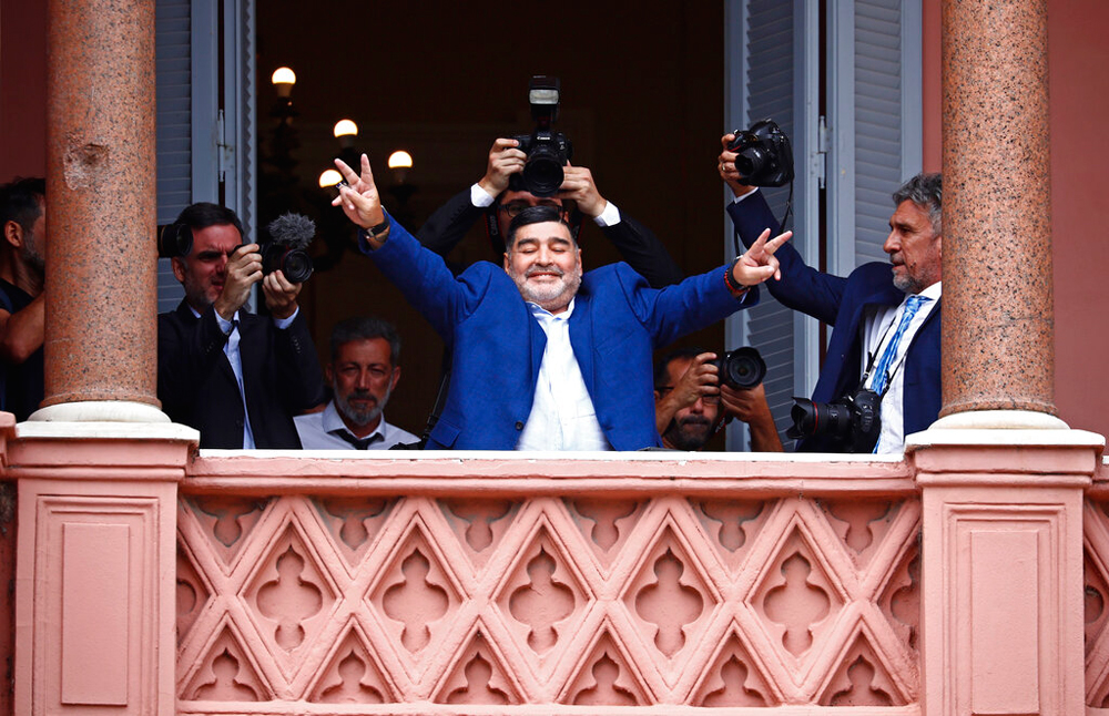 Diego Maradona after meeting Argentine President Alberto Fernandez in Buenos Aires on December 26