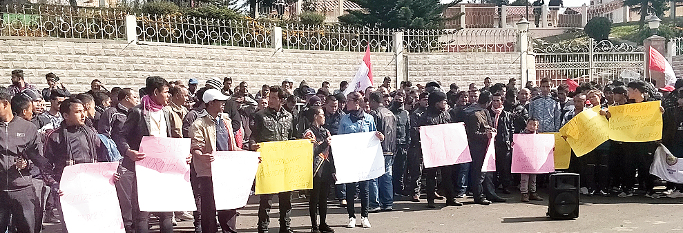 People protest against the citizenship bill in Shillong.